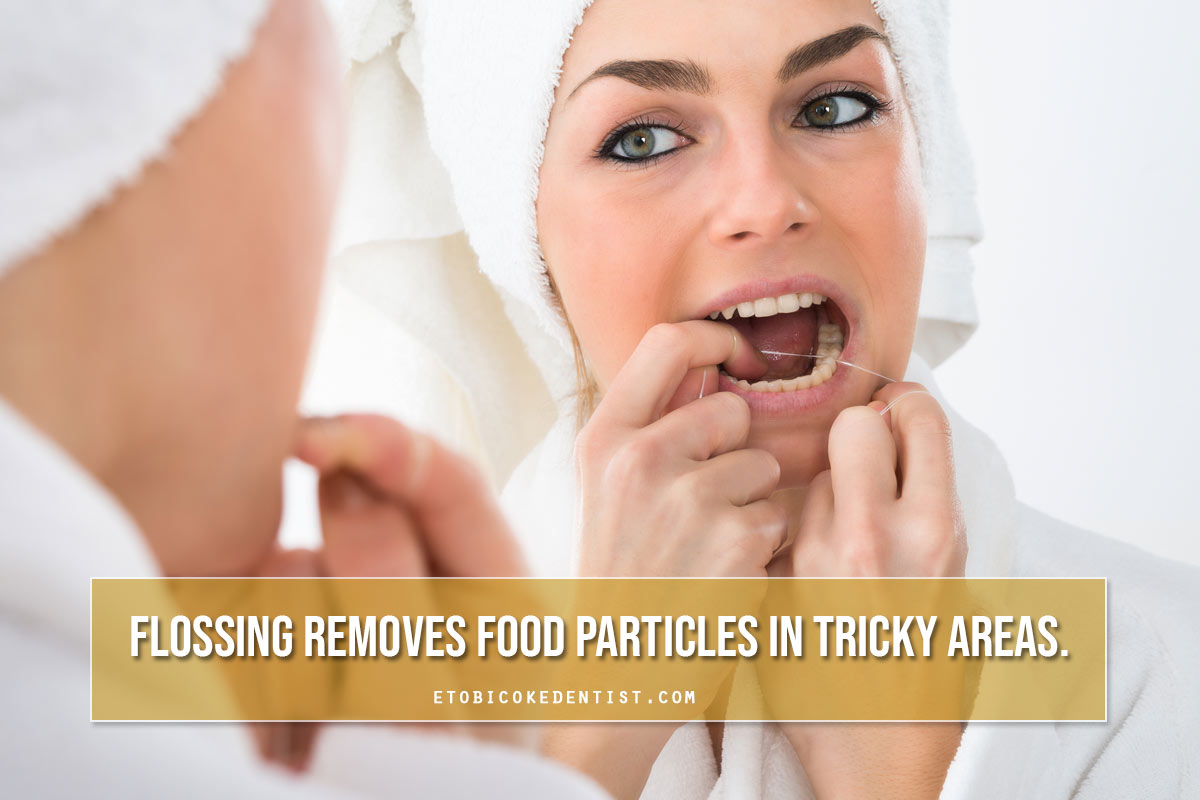 flossing removes food